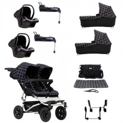 SuperPack Gemelar Mountain Buggy Duet 3.0 con 2 capazos 2 Protect y 2 BaseFix