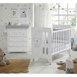 Pack Micuna Koala Cuna (60 x 120 cm) + Mueble Bañera + Nórdico + Protector gris /blanco