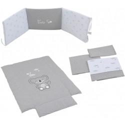 Pack textil 3 piezas Micuna para Cuna (60 x 120 cm) Koala Nórdico + Protector de Minicuna + Juego de Sábanas gris/blanco