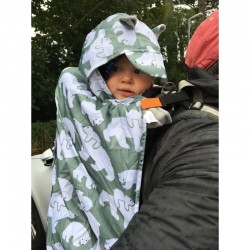 Cobertor porteo polar Bundlebean Grey Elephants