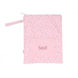 Bolsa Tutete Impermeable Grande Dots Pink Personalizable