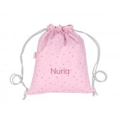 Mochila Tutete Saco Tela Dots Pink Personalizable