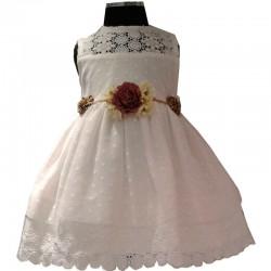 Vestido Azul de Colibri blanco calado