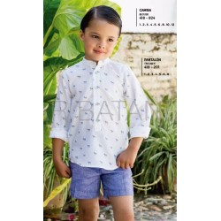 Conjunto Pilar Batanero pantalon chino lino y camisa cebra