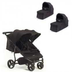 PACK Silla Gemelar Baby Monster Easy Twin 3S con 2 capazos duros 2 colchonetas y Barra apoyabrazos