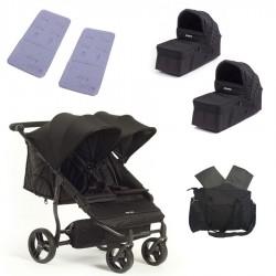 PACK Silla gemelar Baby Monsters Easy Twin 3S 2 capazos 2 colchonetas 1 bolso y barra apoyabrazos