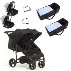 PACK Silla gemelar Baby Monster Easy Twin 3S con capazos blandos 2 grupos cero 2 adaptadores y barrra apoyabrazos