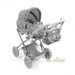 Cochecito de muñeca La Nina Mini Gaby grande (42x85x53 cm)