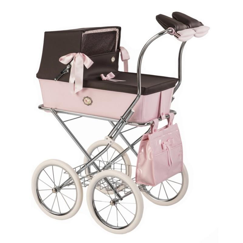 Cochecito de muñecas capota charol rosa Sweet de Bebelux