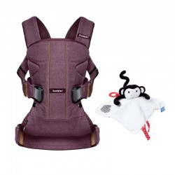 PACK Mochila portabebe Babybjorn ONE Woods Collection con manta de apego-marioneta