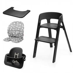 PACK Trona Stokke STEPS con Baby Set, Cojin y bandeja de regalo