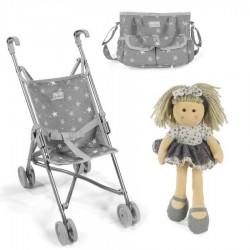 PACK Silla pequeña La Nina Mini Gaby (27x53x41 cm) con bolso y muñeca