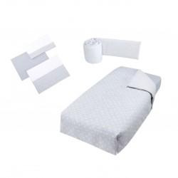 Pack textil Micuna Galaxy Nórdico + Protector + Juego Sábanas cuna 120 X 60