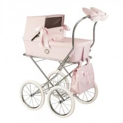 Cochecito de muñecas capota charol rosa Bebelux Sweet personalizable