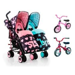 PACK Silla Paseo gemelar Cosatto Supa Dupa Sis & Bro 5 con 2 bicicletas Chicco