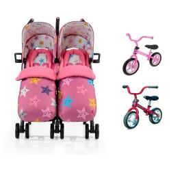 Pack Silla Paseo gemelar Cosatto Supa Dupa Happy Stars con 2 bicicletas Chicco