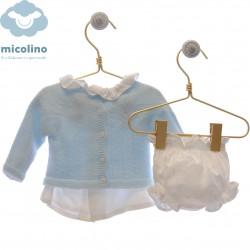 Conjunto blusa, rebeca y braguita Micolino Bruno