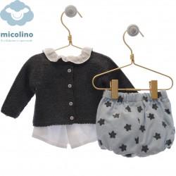 Conjunto blusa, rebeca y braguita Micolino Daniel