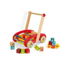 Carrito de madera Janod ABC Buggy Tatoo 30 cubos