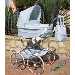Cochecito para bebe Reborn Bytax ELITA FANTASY 02 Azul