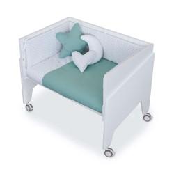 Minicuna Colecho Alondra EQUO BLANCO con Set Téxtill y colchón