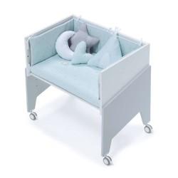 Minicuna Colecho Alondra EQUO GRIS con Set Téxtill y colchón