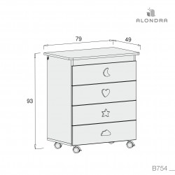Mueble bañera cambiador Alondra con ruedas