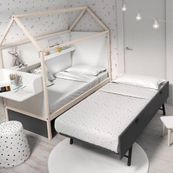 Cama Ros Mini CASITA NIDO 190x90 con cama inferior